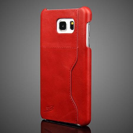 Oil Wax Grain Genuine Leather Back Cover Case With Card Slot For Samsung Galaxy Note 5 - Red