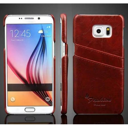 Oil Wax Pu Leather Back Case Cover for Samsung Galaxy S6 Edge+/Plus With Card Holder - Brown