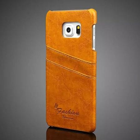 Oil Wax Pu Leather Back Case Cover for Samsung Galaxy S6 Edge+/Plus With Card Holder - Orange