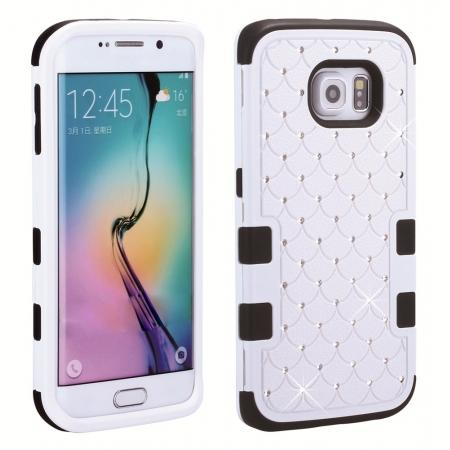 Rhinestone Crystal Bling Hybrid Armor Case Cover for Samsung Galaxy S6 Edge - Black&White