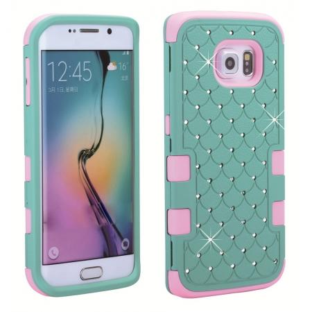 Rhinestone Crystal Bling Hybrid Armor Case Cover for Samsung Galaxy S6 Edge - Pink&Cyan