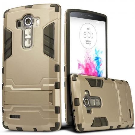 Rugged Shockproof Impact Armor Stand Case Cover For LG G Stylo LS770/G4 Stylus - Gold