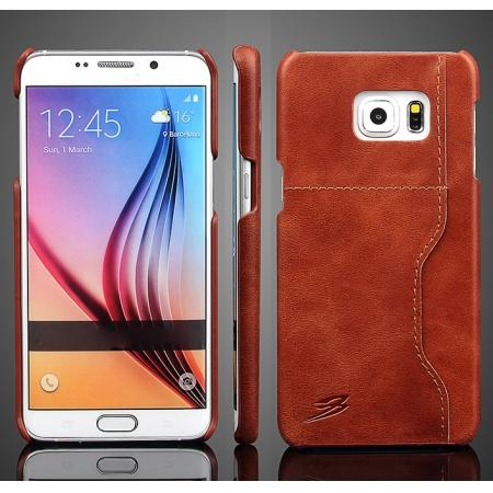 Wax Oil Skin Genuine Leather Back Case Cover For Samsung Galaxy S6 Edge+/Plus With Card Slot - Brown