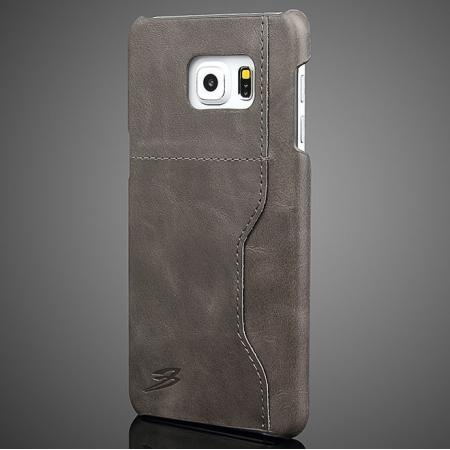 Wax Oil Skin Genuine Leather Back Case Cover For Samsung Galaxy S6 Edge+/Plus With Card Slot - Dark Grey