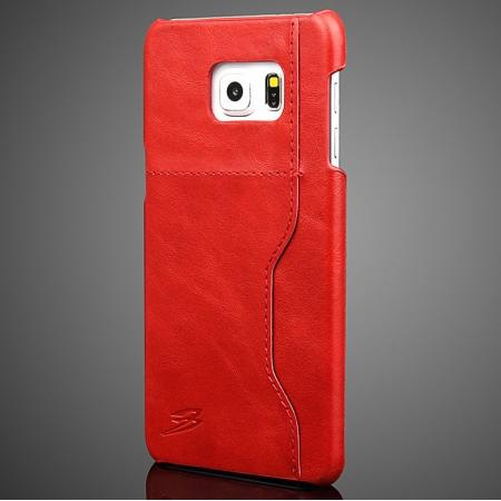 Wax Oil Skin Genuine Leather Back Case Cover For Samsung Galaxy S6 Edge+/Plus With Card Slot - Red