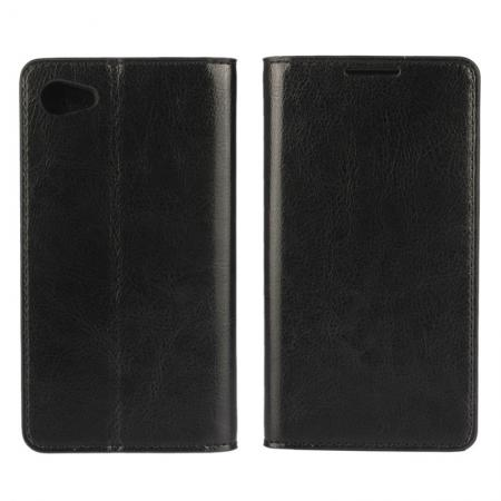 Crazy Horse Genuine Leather Stand Case for Sony Xperia Z5 Compact/Z5 mini With Card Slots - Black