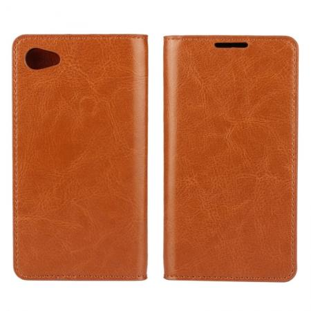Crazy Horse Genuine Leather Stand Case for Sony Xperia Z5 Compact/Z5 mini With Card Slots - Brown