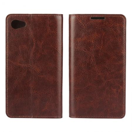 Crazy Horse Genuine Leather Stand Case for Sony Xperia Z5 Compact/Z5 mini With Card Slots - Coffee
