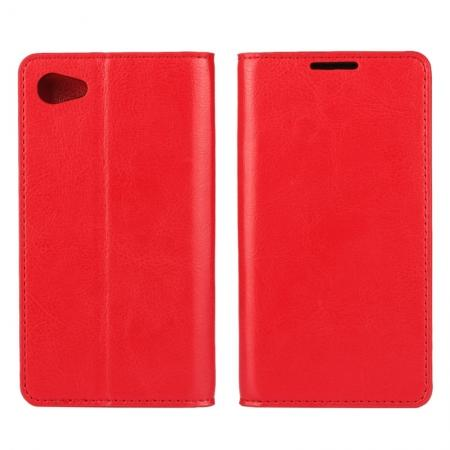 Crazy Horse Genuine Leather Stand Case for Sony Xperia Z5 Compact/Z5 mini With Card Slots - Red