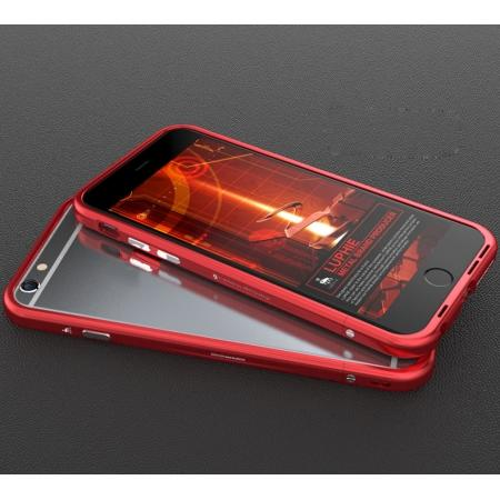 Fashion Rugged Metal Aluminum Bumper Frame Case For iPhone 6/6S - Red