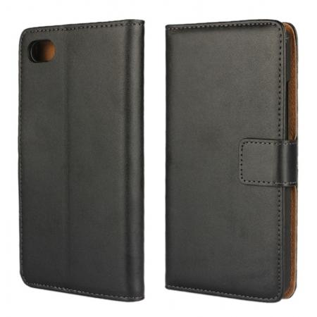 Flip Magnetic Genuine Leather Case for BlackBerry Z30 with Card Slots&holder - Black