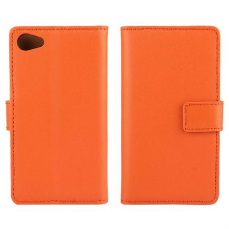 Genuine Leather Stand Wallet Case for Sony Xperia Z5 Compact/Z5 mini with Card Slots&holder - Orange