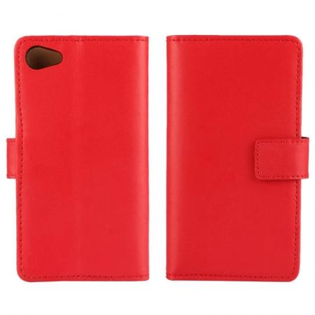Genuine Leather Stand Wallet Case for Sony Xperia Z5 Compact/Z5 mini with Card Slots&holder - Red