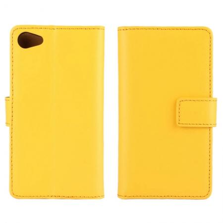 Genuine Leather Stand Wallet Case for Sony Xperia Z5 Compact/Z5 mini with Card Slots&holder - Yellow