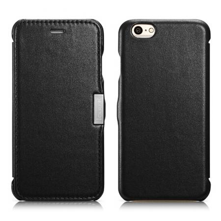 ICARER Luxury Series Side-open Genuine Leather Wallet Case For iPhone 6S 4.7 Inch - Black