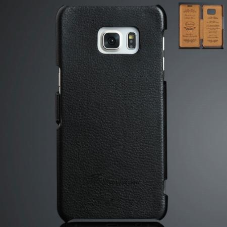 Litchi Grain Side Flip Genuine Leather Case For Samsung Galaxy S6 Edge Plus - Black