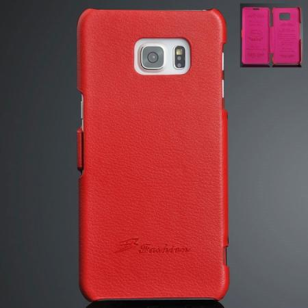 Litchi Grain Side Flip Genuine Leather Case For Samsung Galaxy S6 Edge Plus - Red