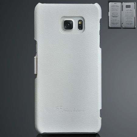 Litchi Grain Side Flip Genuine Leather Case For Samsung Galaxy S6 Edge Plus - White