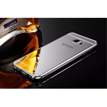 Luxury Metal Bumper With Mirror Acrylic Back Cover For Samsung Galaxy Note 5 - Silver
