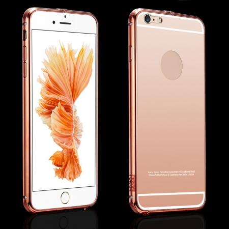 Stylish Arc Metal Bumper With Mirror Acrylic Back Cover For iPhone 6s Plus - Rose gold