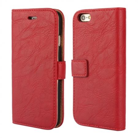 Tree Bark Texture PU Wallet Leather Case Cover With Holder Card Slots for iPhone 6S 4.7 Inch - Red