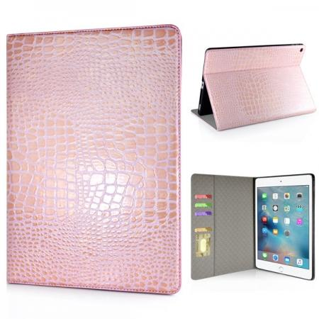 Alligator Pattern Flip Stand Leather Case For iPad Pro 12.9 inch With Card Slots - Pink