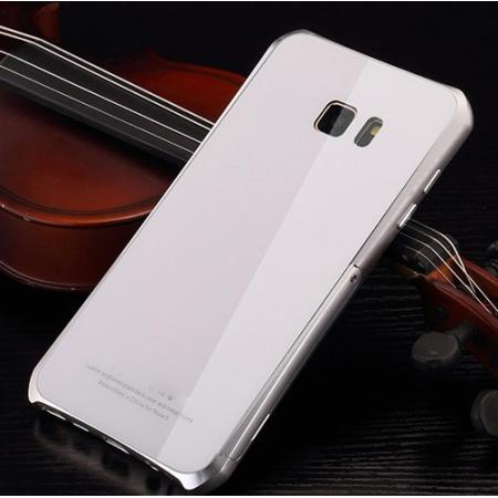 Aluminum Metal Bumper Tempered Glass Case with Stand for Samsung Galaxy Note 5 - Silver&White