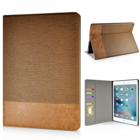 Cross Pattern PU Leather Flip Stand Case for iPad Pro 12.9 inch with Card Holder - Brown