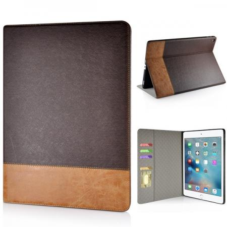 Cross Pattern PU Leather Flip Stand Case for iPad Pro 12.9 inch with Card Holder - Coffee