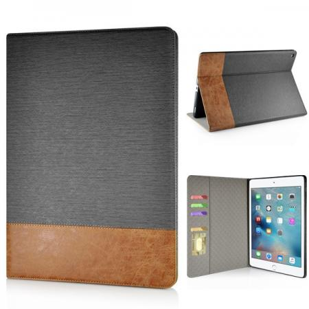 Cross Pattern PU Leather Flip Stand Case for iPad Pro 12.9 inch with Card Holder - Grey