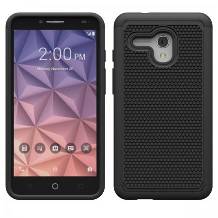 Dual Layer Armor Defender Hybrid Protective Case For Alcatel OneTouch Fierce XL - Black