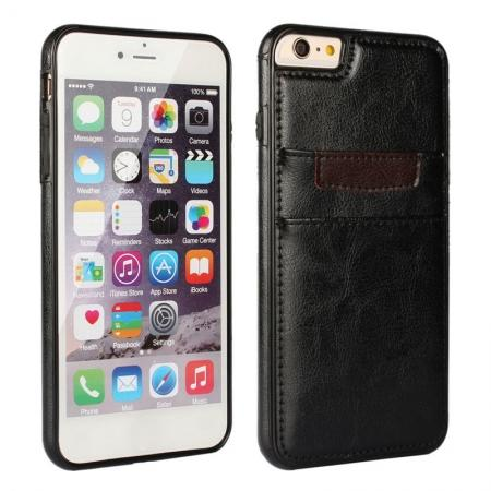 Genuine Leather Back Cover Credit Card Holder Case For iPhone 6/6S 4.7 Inch - Black