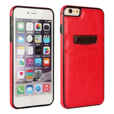 Genuine Leather Back Cover Credit Card Holder Case For iPhone 6/6S 4.7 Inch - Red