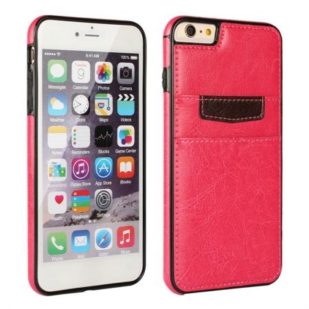 Genuine Leather Back Cover Credit Card Holder Case For iPhone 6/6S 4.7 Inch - Rose Red