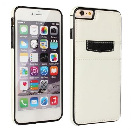 Genuine Leather Back Cover Credit Card Holder Case For iPhone 6/6S 4.7 Inch - White