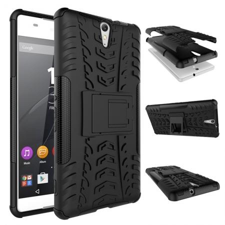 Hyun Pattern Hybrid Armor Case Dual Layer Shockproof Cover for Sony Xperia C5 Ultra - Black
