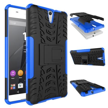 Hyun Pattern Hybrid Armor Case Dual Layer Shockproof Cover for Sony Xperia C5 Ultra - Blue