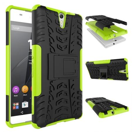 Hyun Pattern Hybrid Armor Case Dual Layer Shockproof Cover for Sony Xperia C5 Ultra - Green