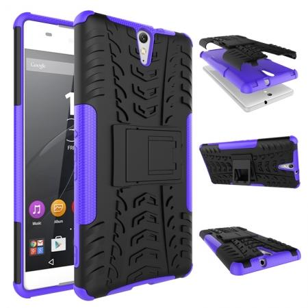 Hyun Pattern Hybrid Armor Case Dual Layer Shockproof Cover for Sony Xperia C5 Ultra - Purple