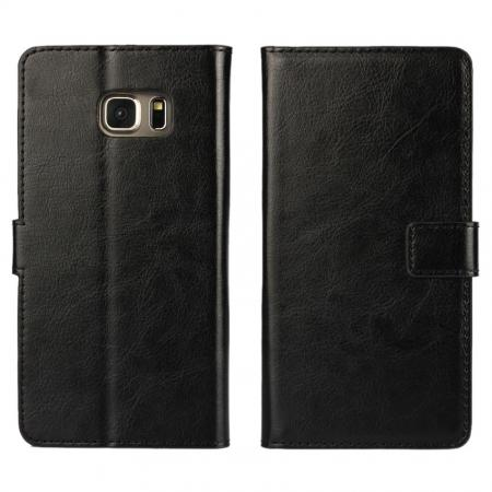 Luxury Crazy Horse PU Leather Flip Wallet Case For Samsung Galaxy S6 Edge+/Plus - Black