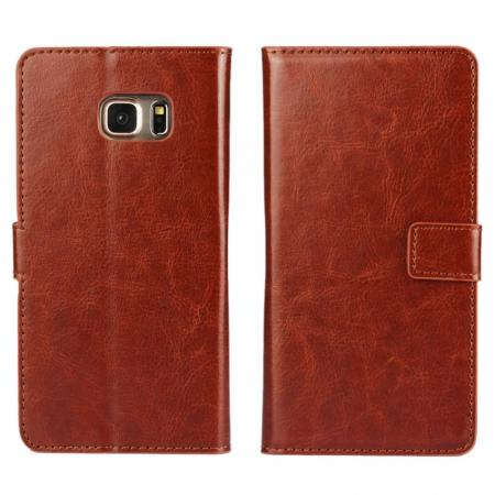 Luxury Crazy Horse PU Leather Flip Wallet Case For Samsung Galaxy S6 Edge+/Plus - Brown