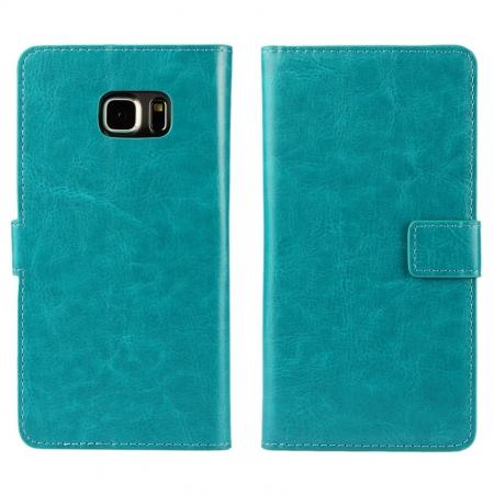 Luxury Crazy Horse PU Leather Flip Wallet Case For Samsung Galaxy S6 Edge+/Plus - Light blue