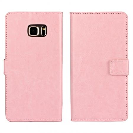 Luxury Crazy Horse PU Leather Flip Wallet Case For Samsung Galaxy S6 Edge+/Plus - Pink