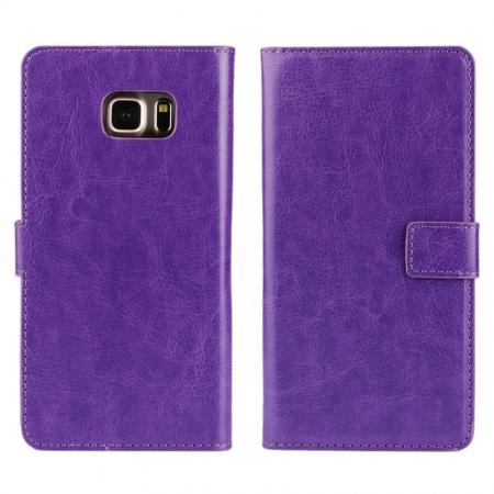 Luxury Crazy Horse PU Leather Flip Wallet Case For Samsung Galaxy S6 Edge+/Plus - Purple