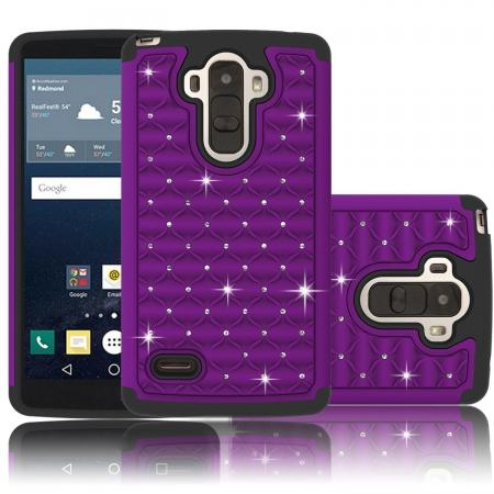 Luxury Diamond Dual Layer Hybrid Case Cover For LG G Stylo LS770/G4 Stylus - Purple&Black
