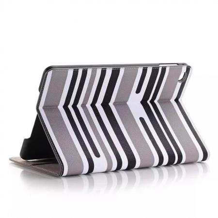 Mixed Colored Stripes Flip Leather Case Stand Cover For iPad Pro 12.9 inch With Card Slots - Grey