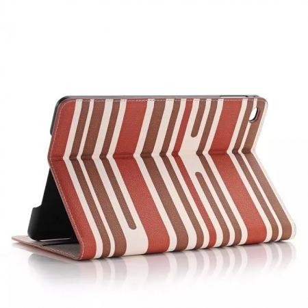 Mixed Colored Stripes Flip Leather Case Stand Cover For iPad Pro 12.9 inch With Card Slots - Red