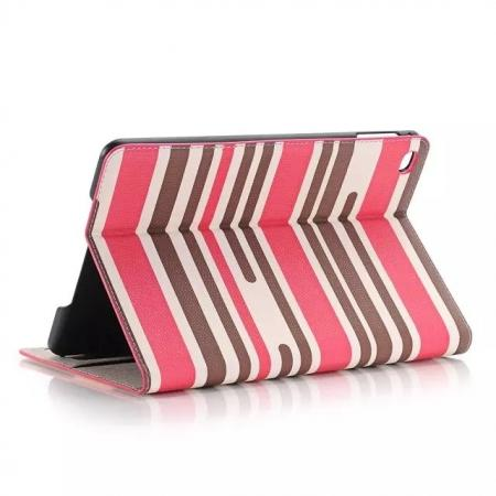Mixed Colored Stripes Flip Leather Case Stand Cover For iPad Pro 12.9 inch With Card Slots - Rose