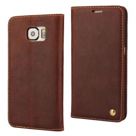 Retro Cowhide Genuine Leather Stand Wallet Case For Samsung Galaxy S6 With Card Slots - Brown