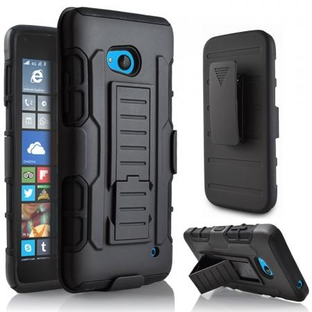 Rugged Impact Future Armor Shockproof Case With Belt Clip For Microsoft Lumia 640